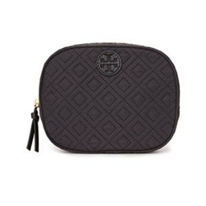 "Tory Burch ""Ella"" Quilted Cosmetic Case • Black"